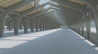 3d factory hall interior model