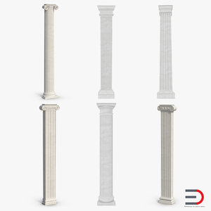 3d model pilasters set greco