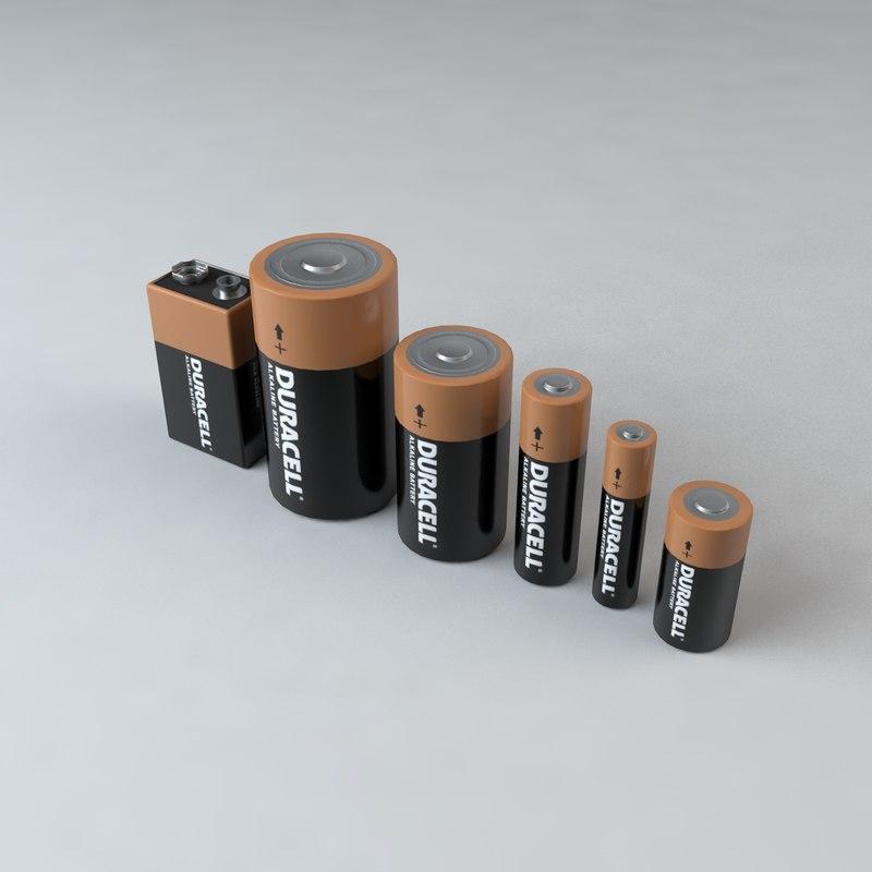 3d duracell batteries d c model