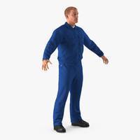Mechanic Worker Wearing Blue Overalls