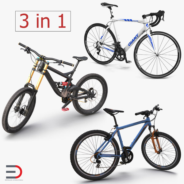 3d model modern bikes rigged