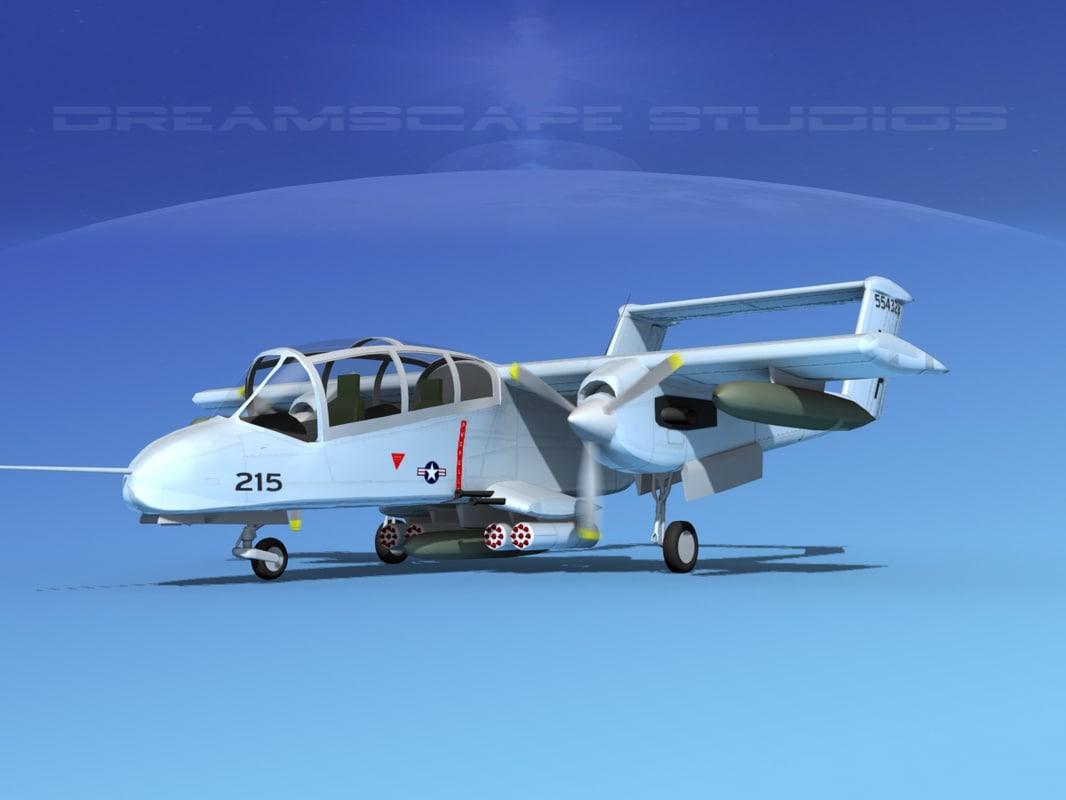 propellers rockwell ov-10 bronco 3d model