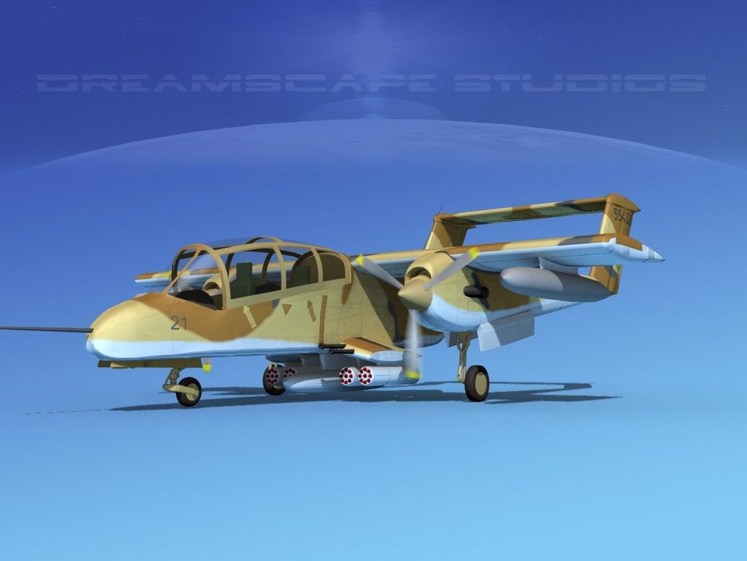propellers marines rockwell ov-10 bronco 3d model