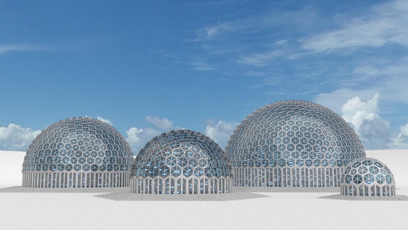3d 4 domes hexagon sizes model