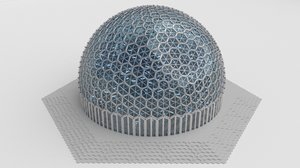 3d big sized dome hexagon model