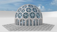 3d small dome hexagon pattern model