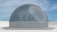 huge sized glass dome with hexagon pattern