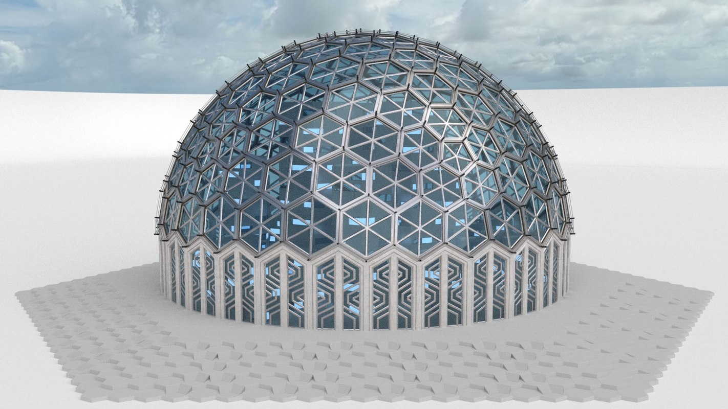 3d model medium dome hexagon pattern