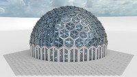 Medium glass dome with hexagon pattern