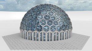 3d model medium dome hexagon pattern