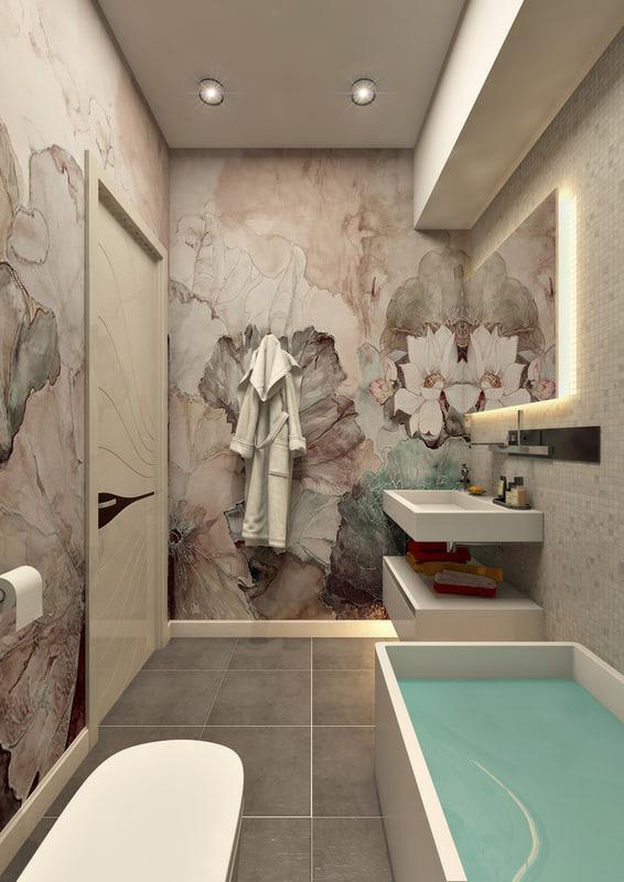 scene contemporary bathroom 1 3d model