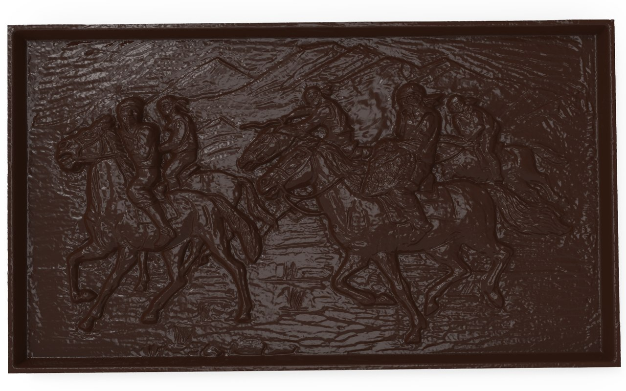 3d model bas relief asian horsemen