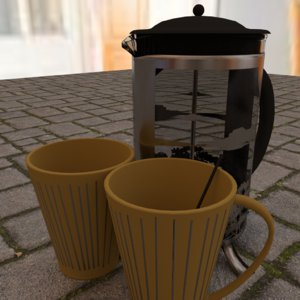coffee stirrer french press 3d model