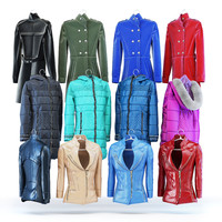 4 variation women's leather jacket, coat and down jacket