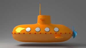 3d model cartoon submarine