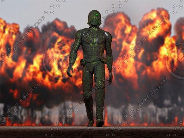 futuristic ninja soldier 3d model