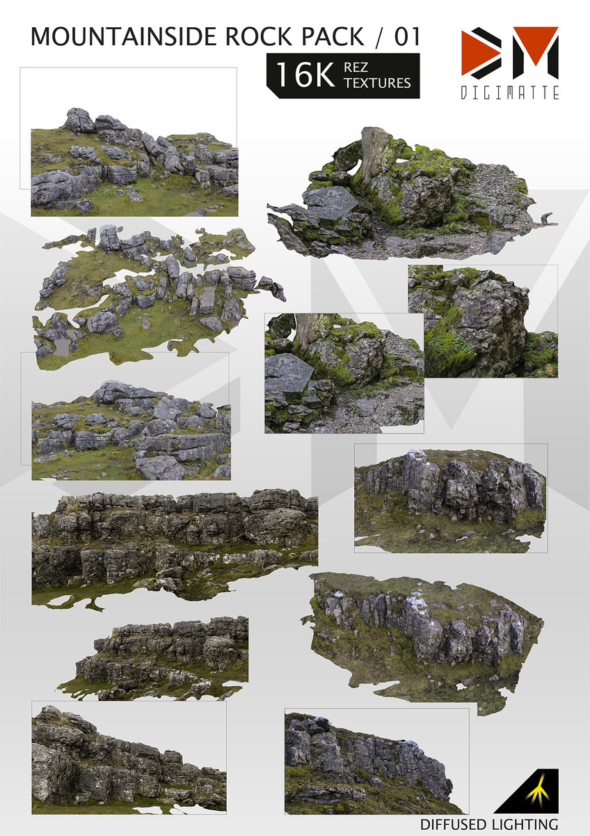 3d mountain rock pack