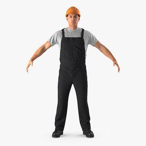 worker black uniform 3ds