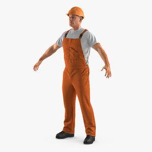 3d worker orange overalls model