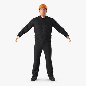 3d model worker hardhat