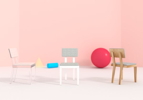 free 3ds model chair pastel minimalism