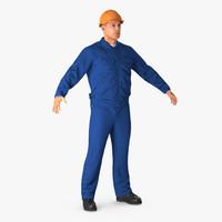 Construction Worker Wearing Blue Overalls 3D Model