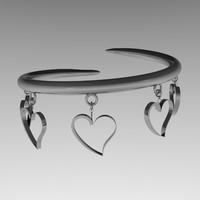 3d model silver bracelet charms