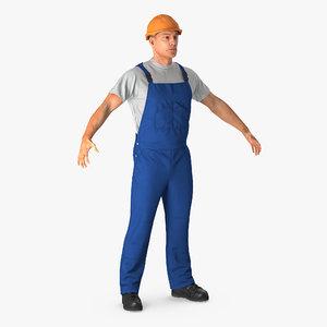 construction worker 3d 3ds