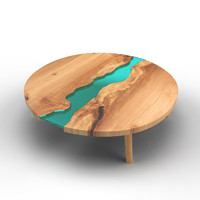 wood table embedded glass 3d model