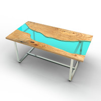 wood table glass rivers max