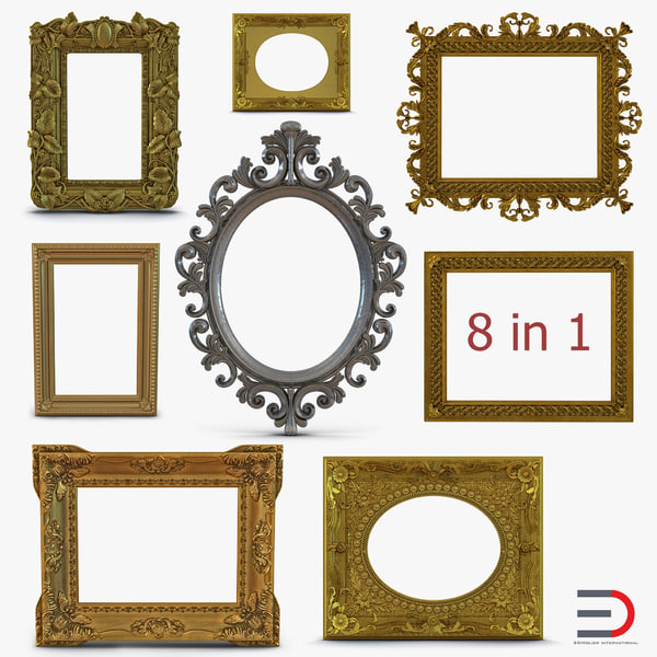 3d model baroque picture frames 3