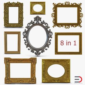 3d model baroque picture frames 3