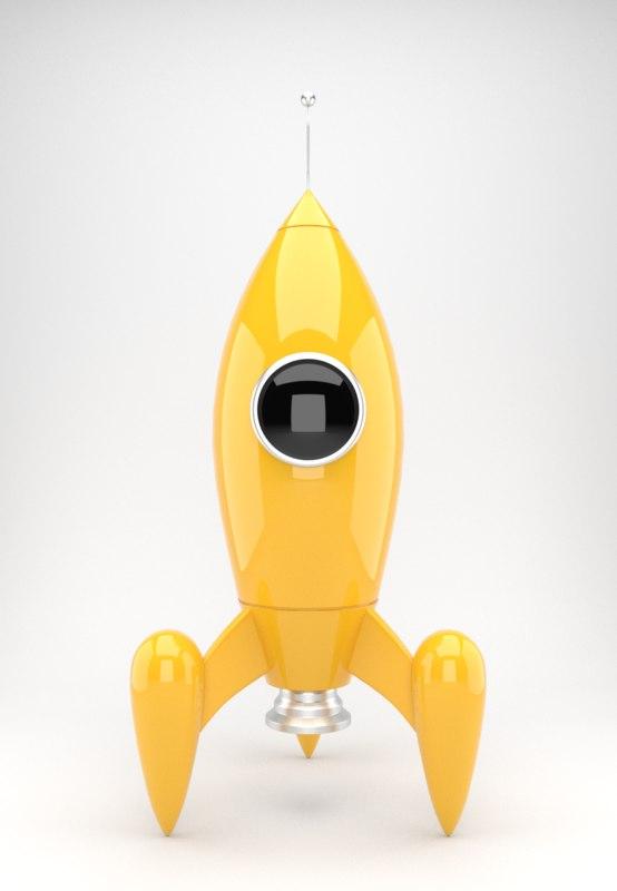 yellow rocket toy 3d obj