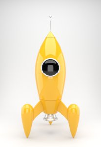 yellow rocket toy 3d obj