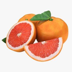 3d realistic grapefruit red model