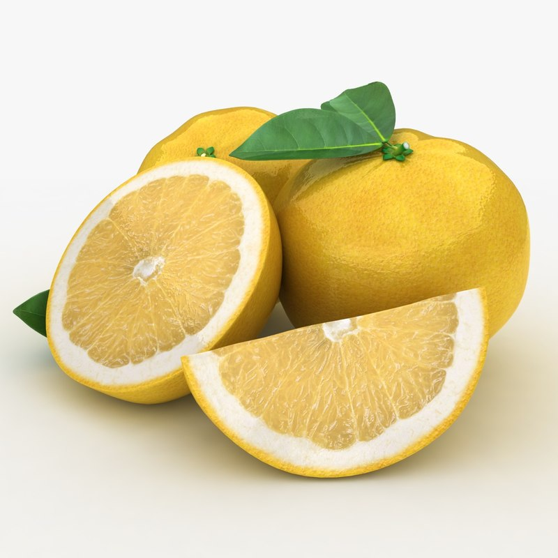 3d model realistic grapefruit yellow