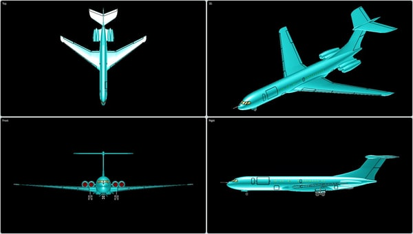 vickers vc-10 transport aircraft 3d dwg