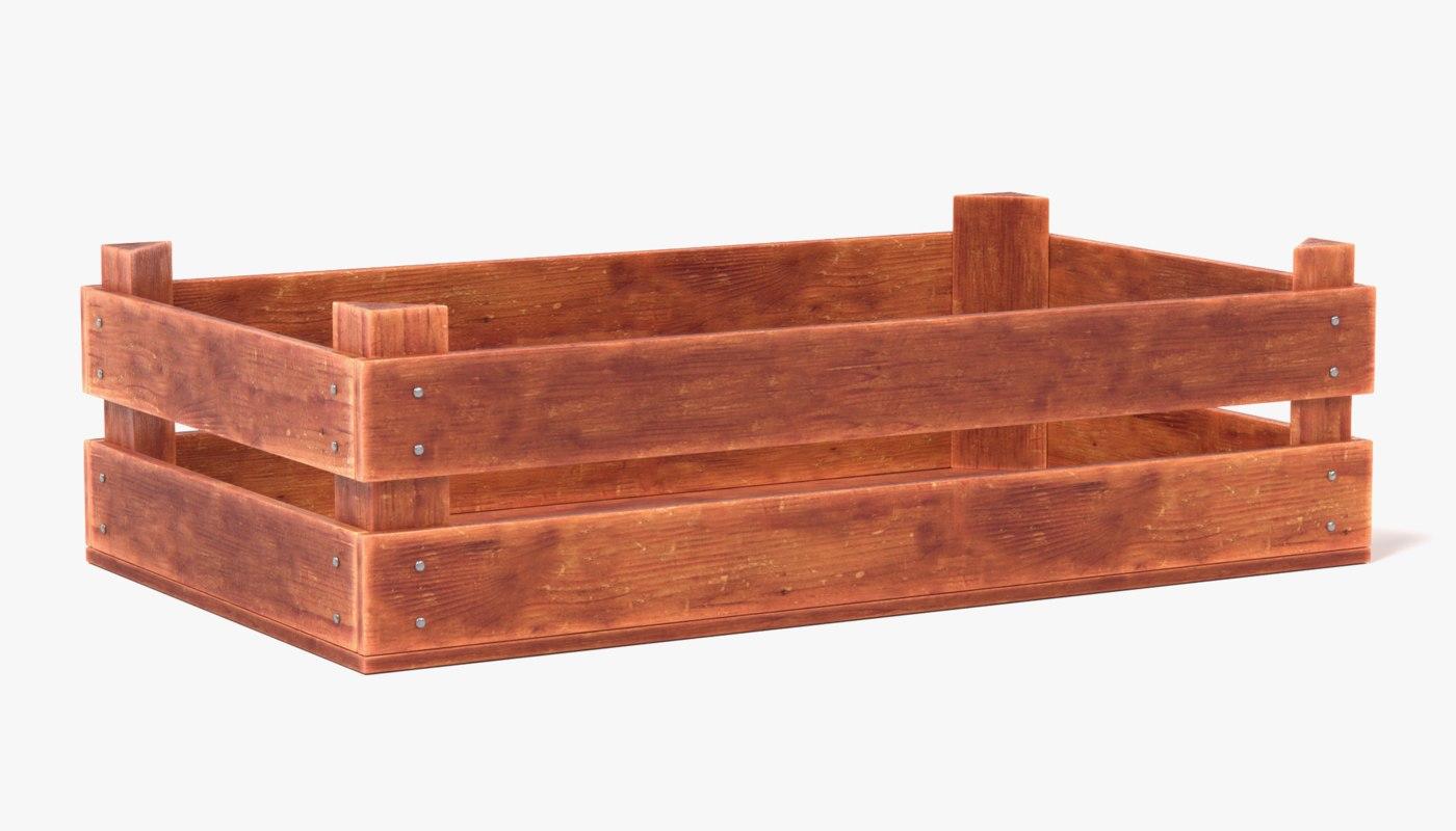 3d old wooden vegetable box model