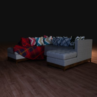 Couch with cushions and plate