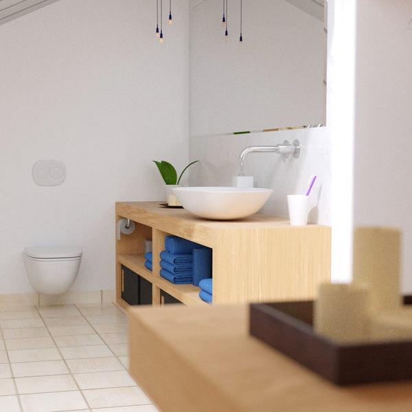 attic bathroom 3d 3ds