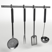 3d model rack kitchen utensils tools