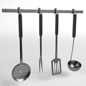 3d model rack kitchen utensils tools