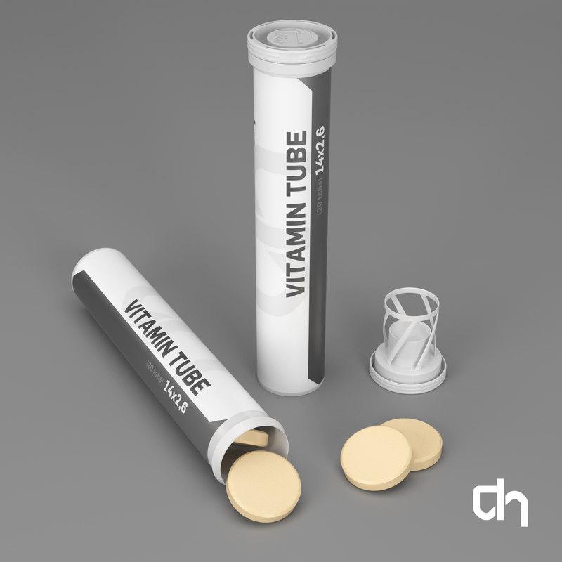 vitamin tubes 14x2 6cm 3d obj