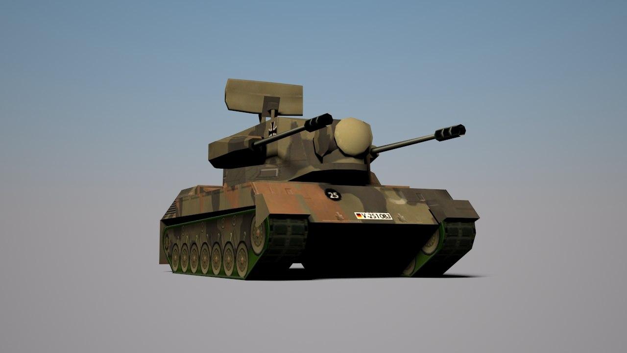 3d model flugabwehrkanonenpanzer tank cheetah spaag