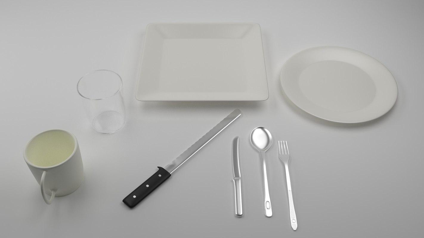 3d dishes set model