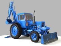 3d rusty mtz-82 excavator