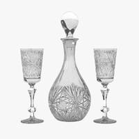 decanter set crystal 3d model