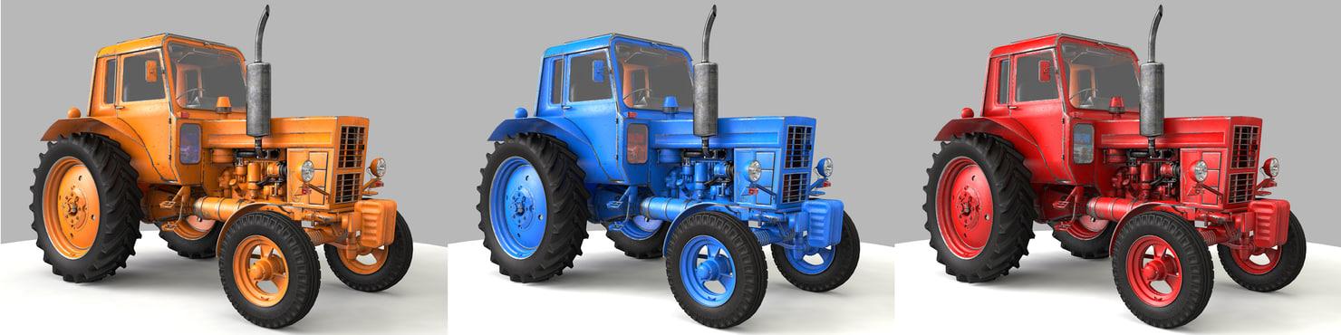 c4d rusty mtz-82 tractor