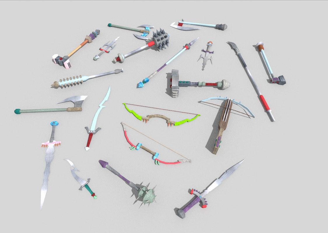 pack 20 fantasy weapons 3d model