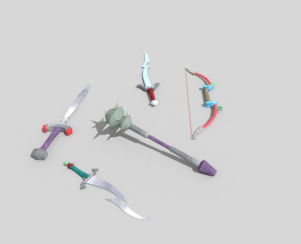 3d model pack 5 fantasy weapons
